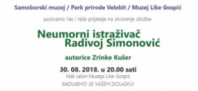 Samoborski muzej, Park prirode Velebit i Muzej Like Gospić organiziraju izložbu o Radivoju Simonoviću